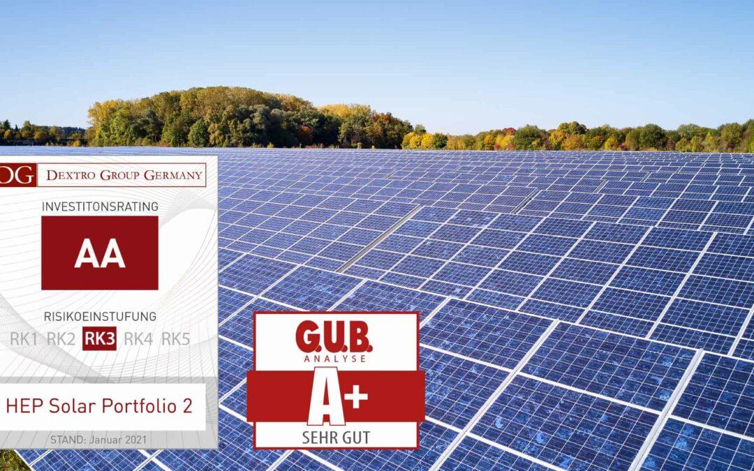 HEP – Solar Portfolio 2: Publikums-AIF im Bereich Solarenergie erhält Bestnoten
